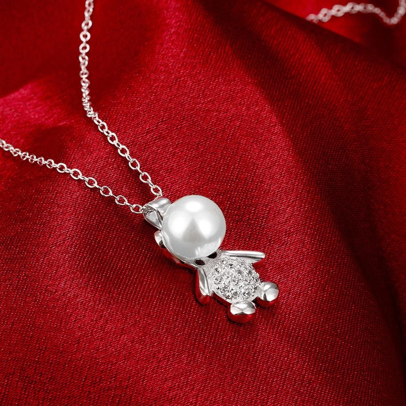 Wholesale Trendy Silver Animal CZ Necklace TGSPN332 3