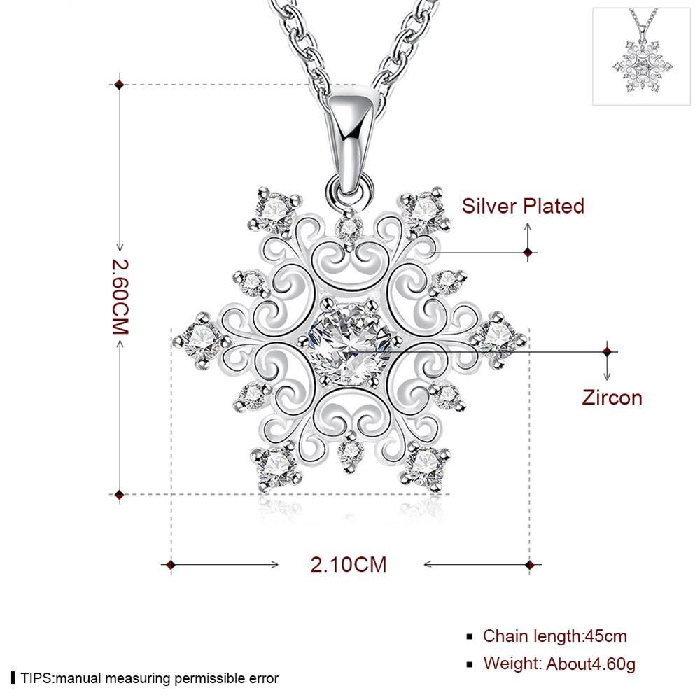 Wholesale Classic Silver Geometric CZ Necklace TGSPN335 0