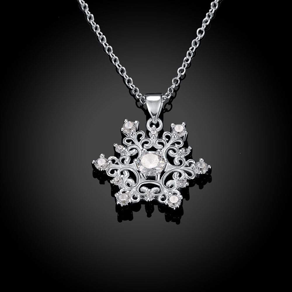 Wholesale Classic Silver Geometric CZ Necklace TGSPN335 1