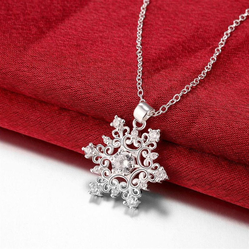 Wholesale Classic Silver Geometric CZ Necklace TGSPN335 2