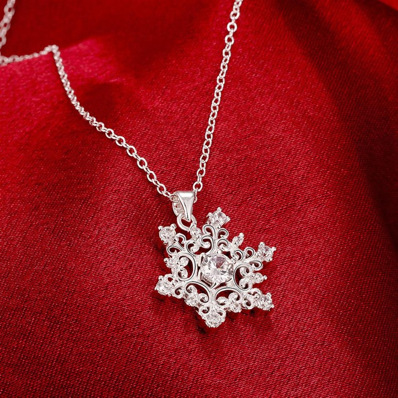 Wholesale Classic Silver Geometric CZ Necklace TGSPN335 3