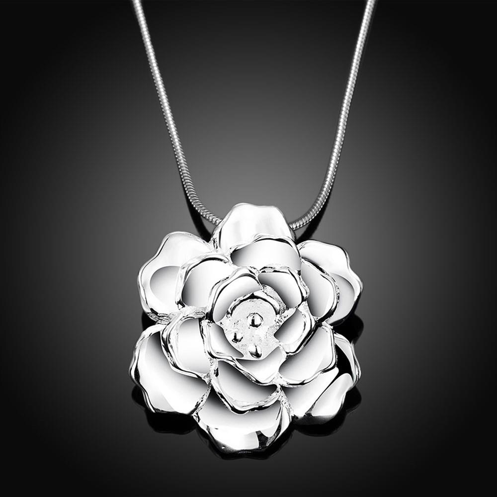Wholesale Romantic Silver Plant Necklace TGSPN339 1