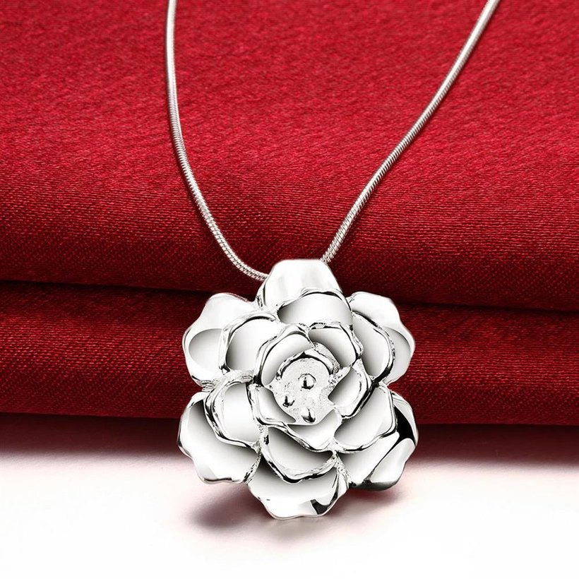 Wholesale Romantic Silver Plant Necklace TGSPN339 2