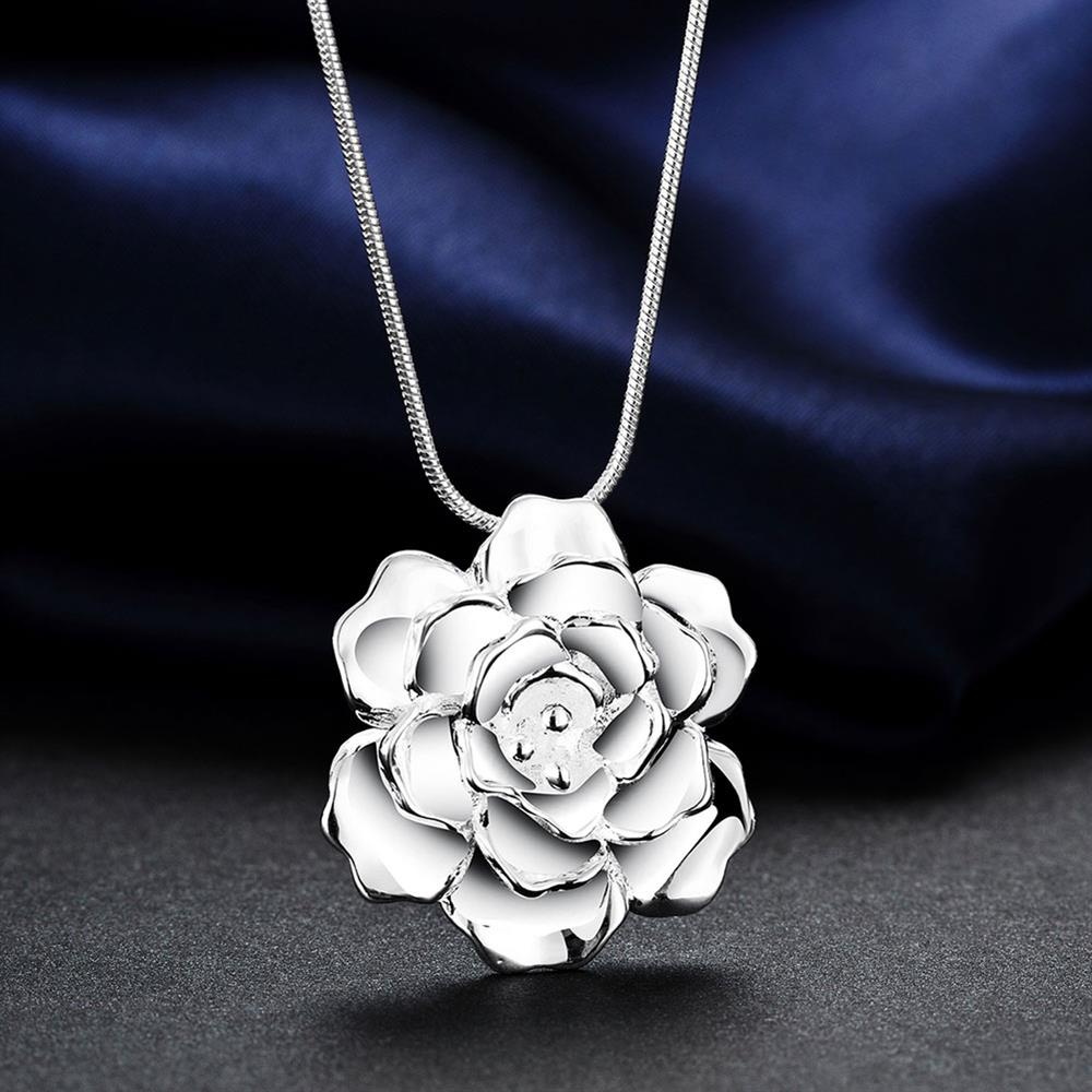 Wholesale Romantic Silver Plant Necklace TGSPN339 3