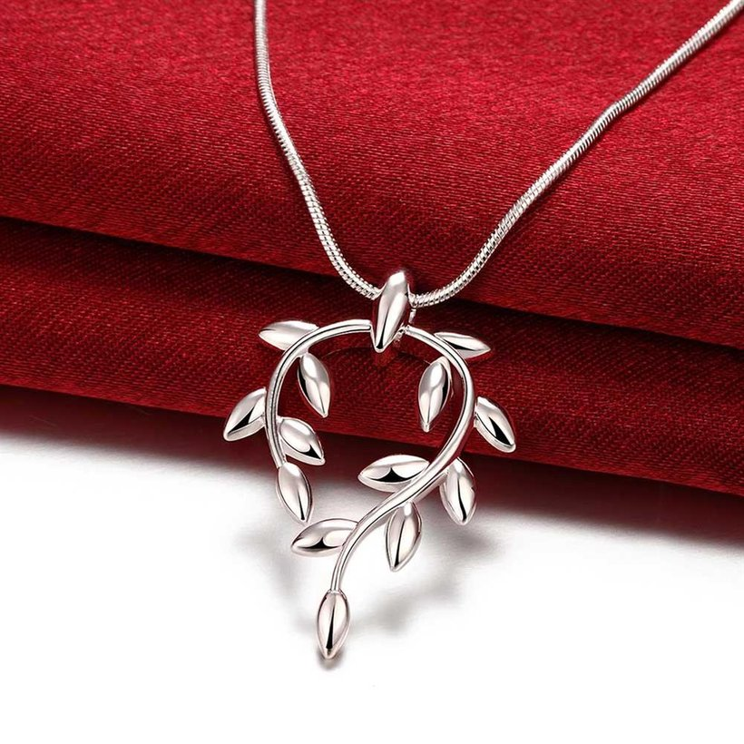 Wholesale Trendy Silver Plant Necklace TGSPN370 0