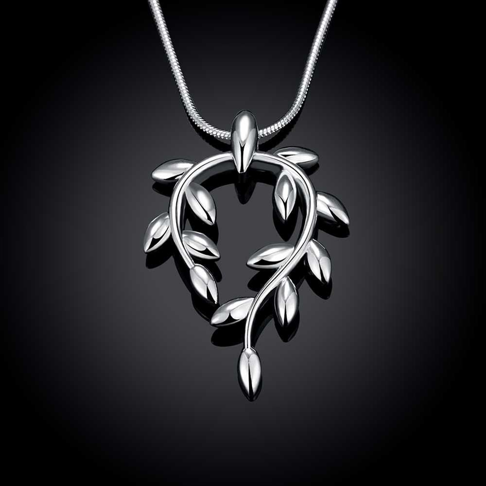Wholesale Trendy Silver Plant Necklace TGSPN370 3