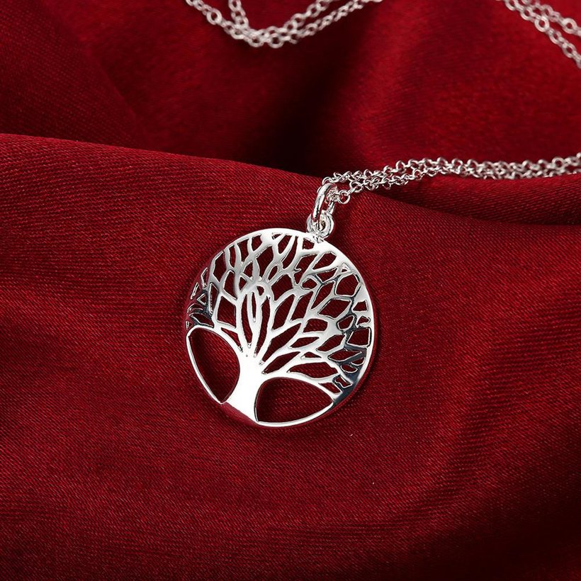 Wholesale Trendy Silver Plant Necklace TGSPN397 2