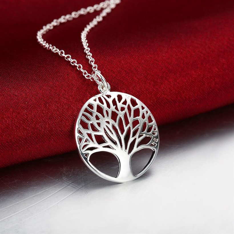Wholesale Trendy Silver Plant Necklace TGSPN397 4