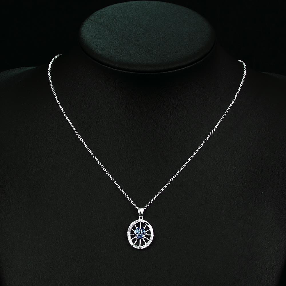Wholesale Classic Silver Round Glass Necklace TGSPN623 4
