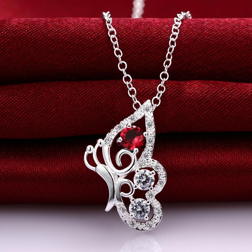 Wholesale Classic Silver Insect Glass Necklace TGSPN629 2