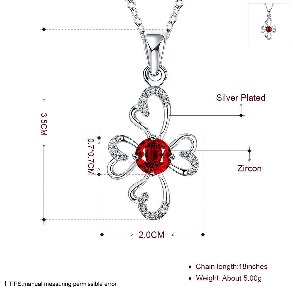 Wholesale Romantic Silver Plant Glass Necklace TGSPN651 0