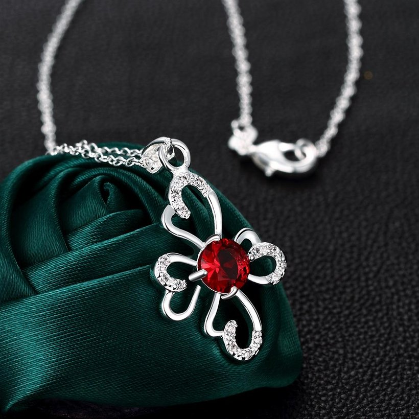 Wholesale Romantic Silver Plant Glass Necklace TGSPN651 2