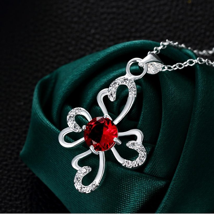 Wholesale Romantic Silver Plant Glass Necklace TGSPN651 3
