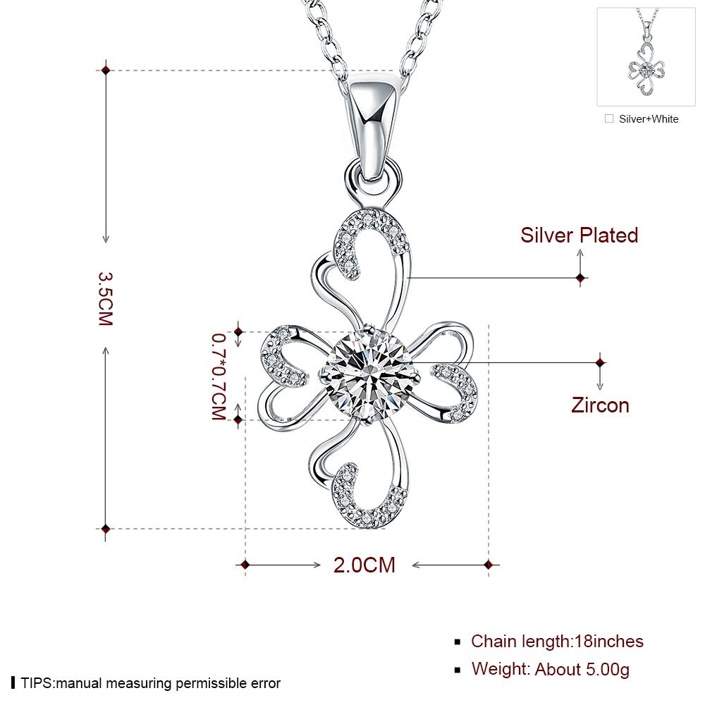 Wholesale Romantic Silver Plant Glass Necklace TGSPN651 7