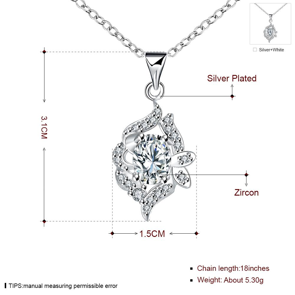 Wholesale Classic Silver Geometric Glass Necklace TGSPN034 7