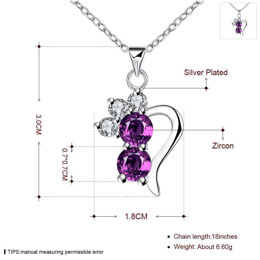 Wholesale Romantic Silver Geometric CZ Necklace TGSPN726 0