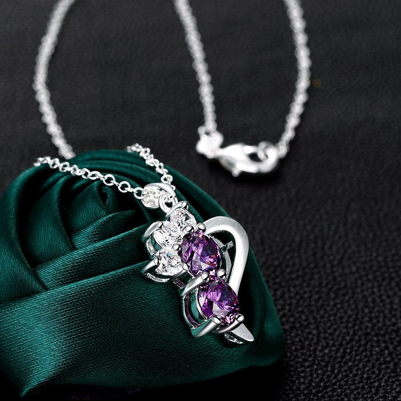 Wholesale Romantic Silver Geometric CZ Necklace TGSPN726 2