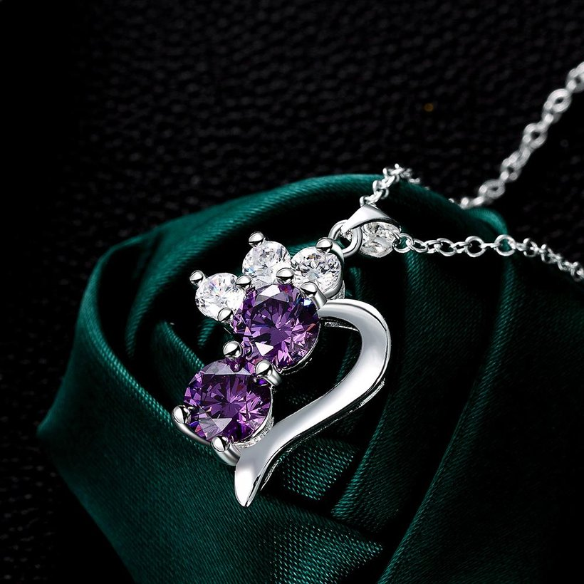 Wholesale Romantic Silver Geometric CZ Necklace TGSPN726 3