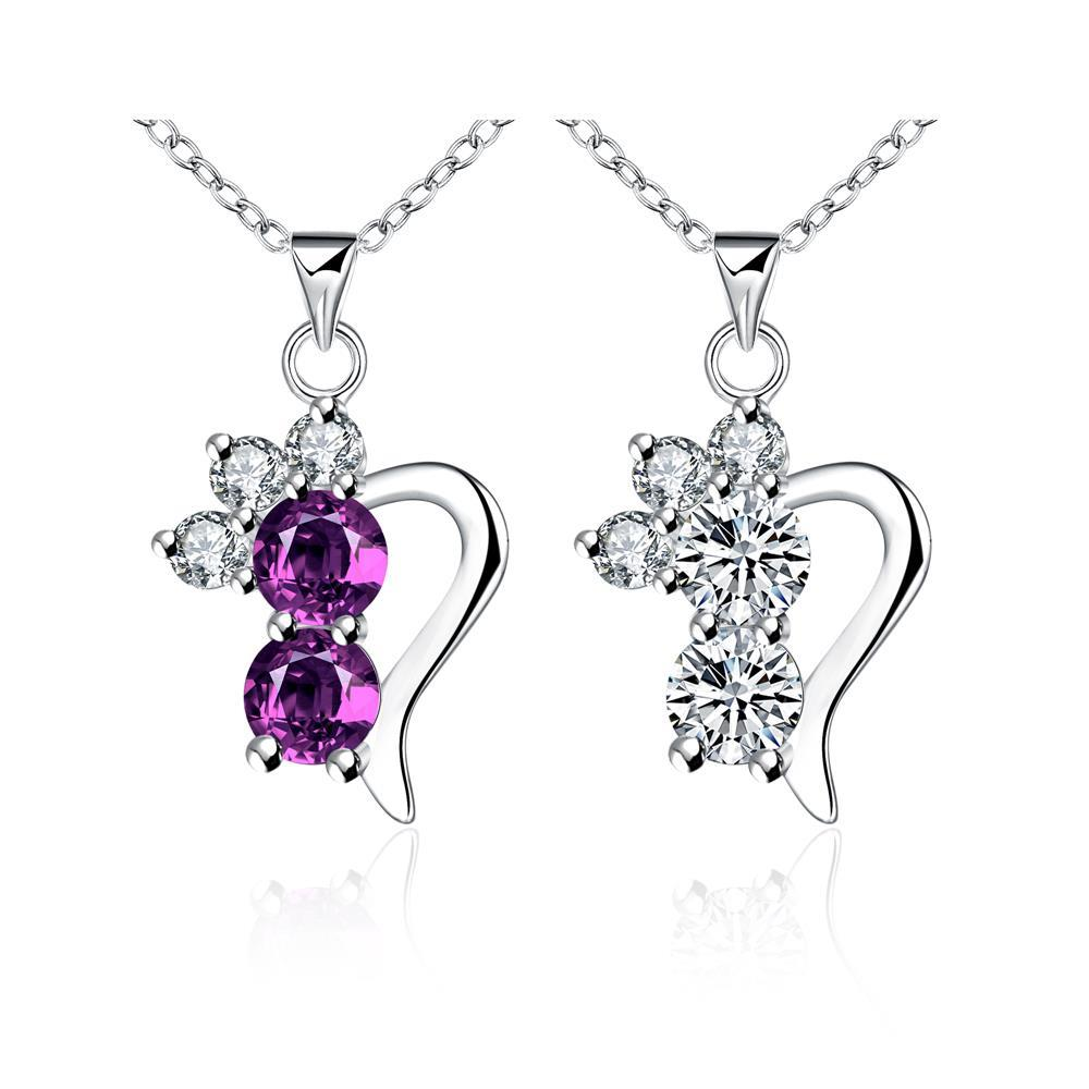 Wholesale Romantic Silver Geometric CZ Necklace TGSPN726 5