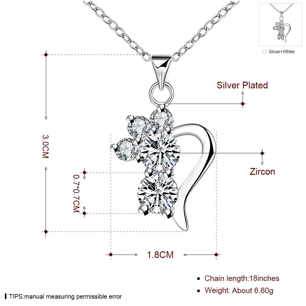 Wholesale Romantic Silver Geometric CZ Necklace TGSPN726 6