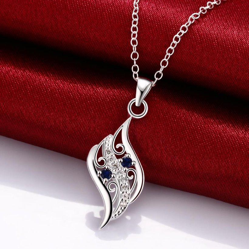 Wholesale Romantic Silver Geometric Glass Necklace TGSPN732 2