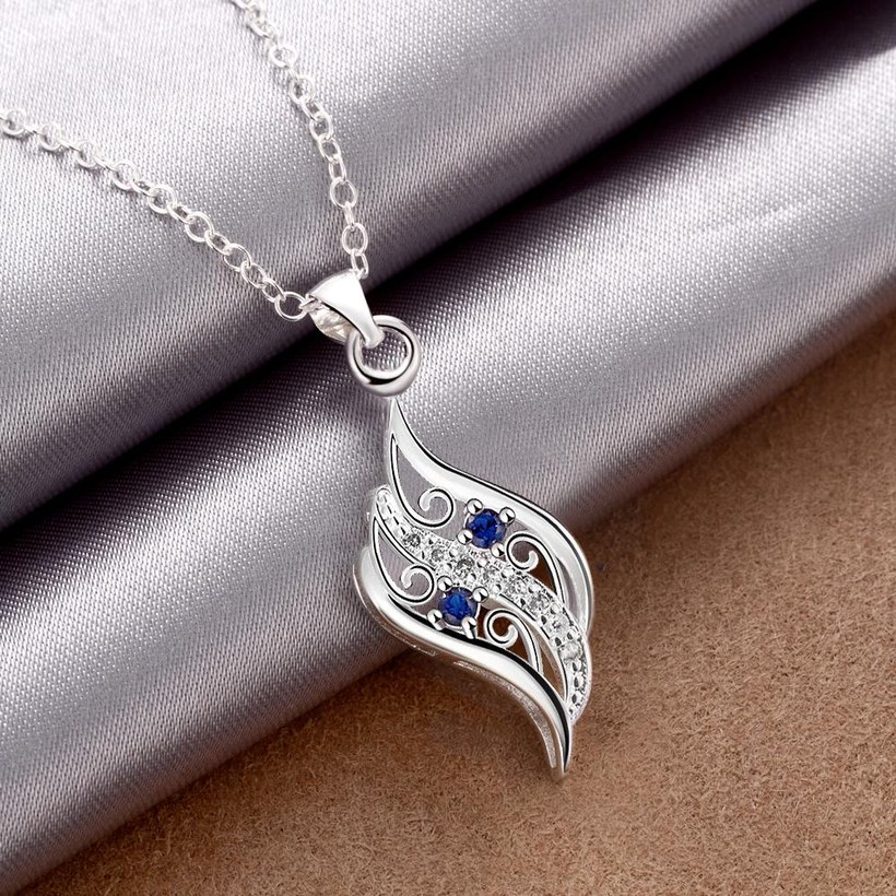Wholesale Romantic Silver Geometric Glass Necklace TGSPN732 3