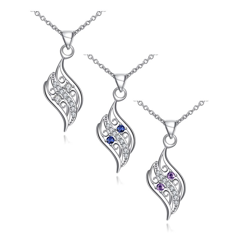 Wholesale Romantic Silver Geometric Glass Necklace TGSPN732 5