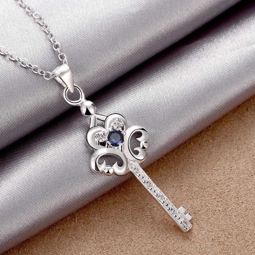 Wholesale Trendy Silver Key Glass Necklace TGSPN747 0