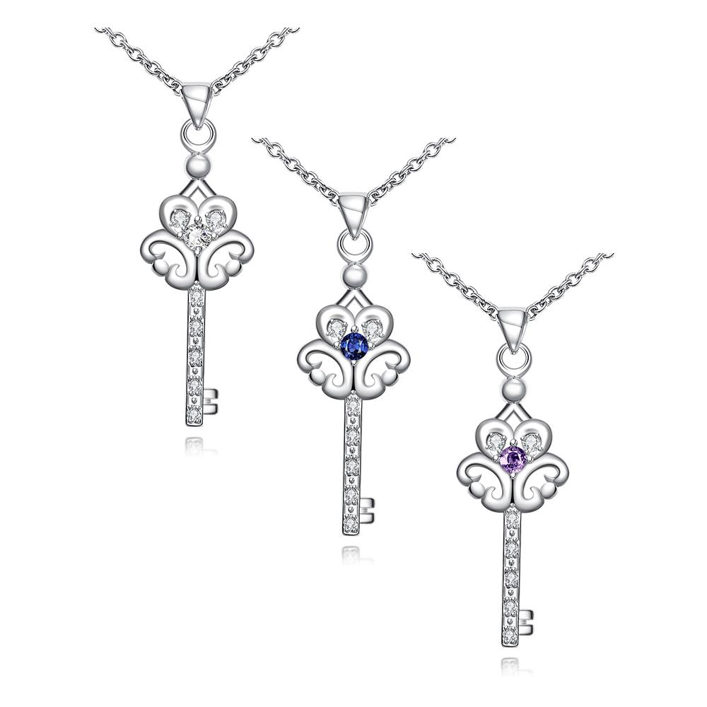 Wholesale Trendy Silver Key Glass Necklace TGSPN747 2