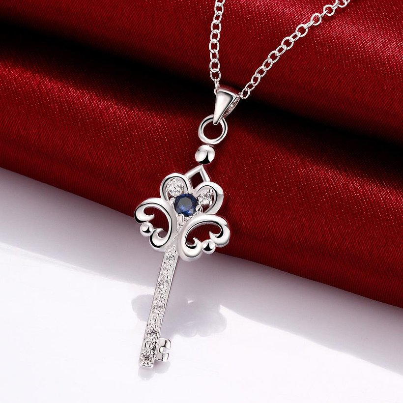 Wholesale Trendy Silver Key Glass Necklace TGSPN747 7