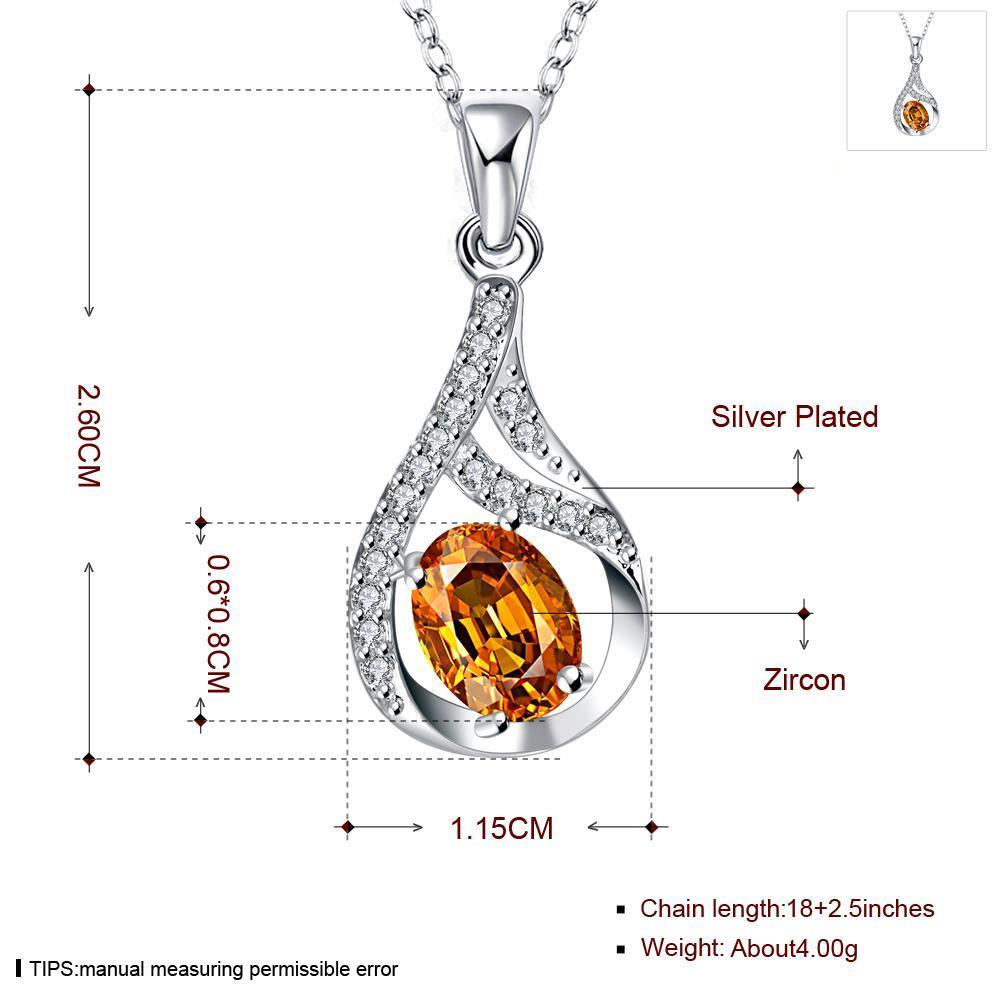 Wholesale Trendy Silver Water Drop CZ Necklace TGSPN762 0