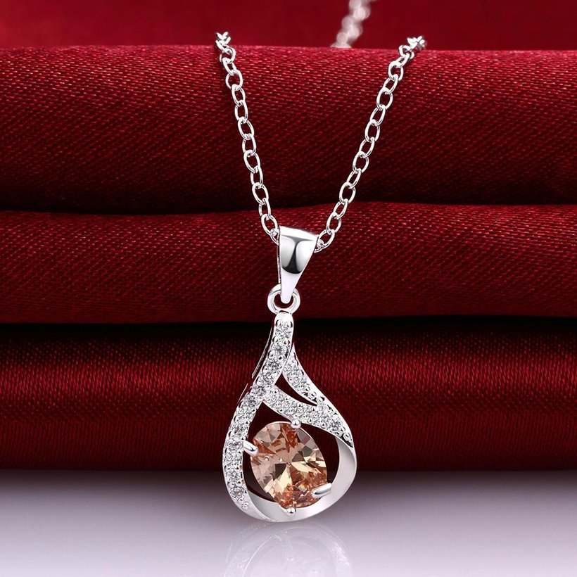 Wholesale Trendy Silver Water Drop CZ Necklace TGSPN762 2
