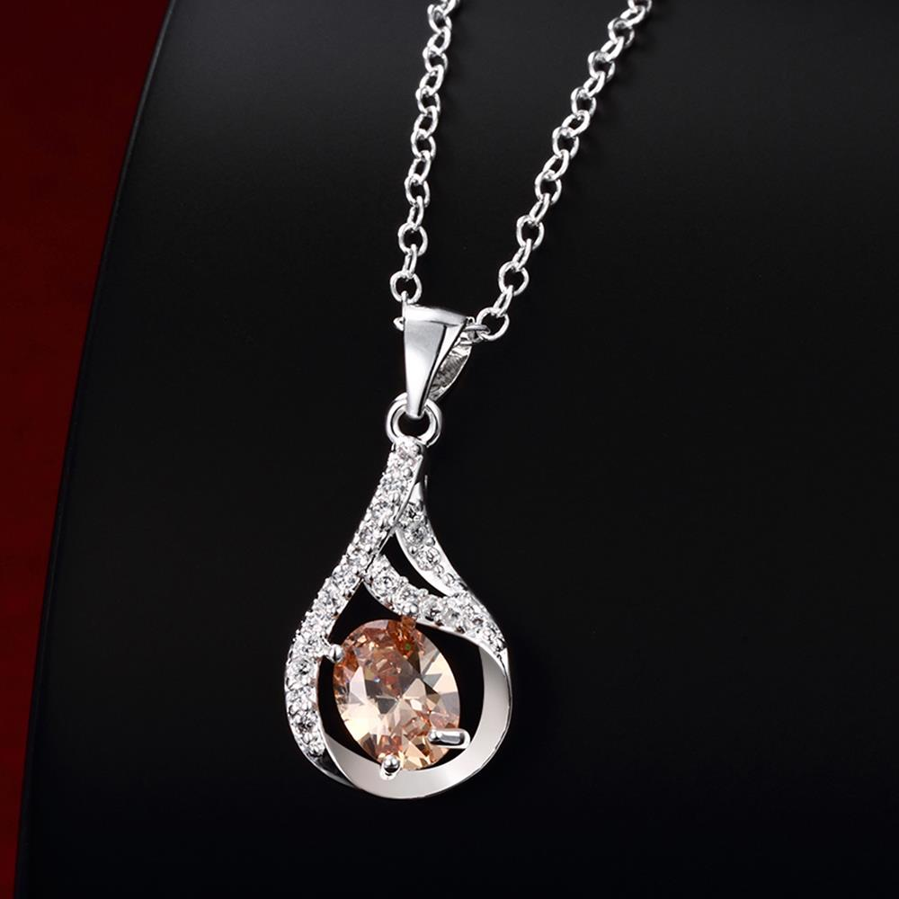 Wholesale Trendy Silver Water Drop CZ Necklace TGSPN762 3