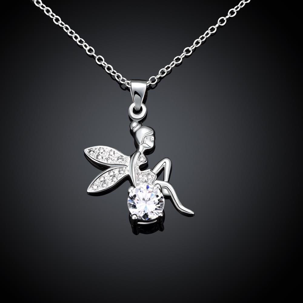 Wholesale Romantic Silver Fairy CZ Necklace TGSPN039 0