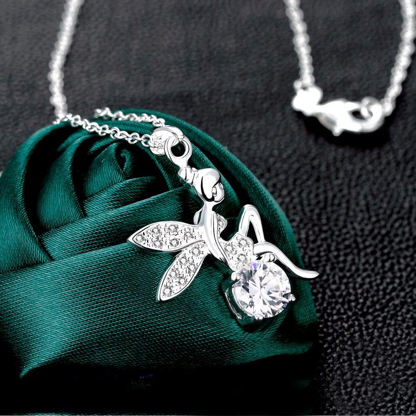 Wholesale Romantic Silver Fairy CZ Necklace TGSPN039 1