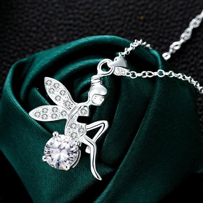 Wholesale Romantic Silver Fairy CZ Necklace TGSPN039 2
