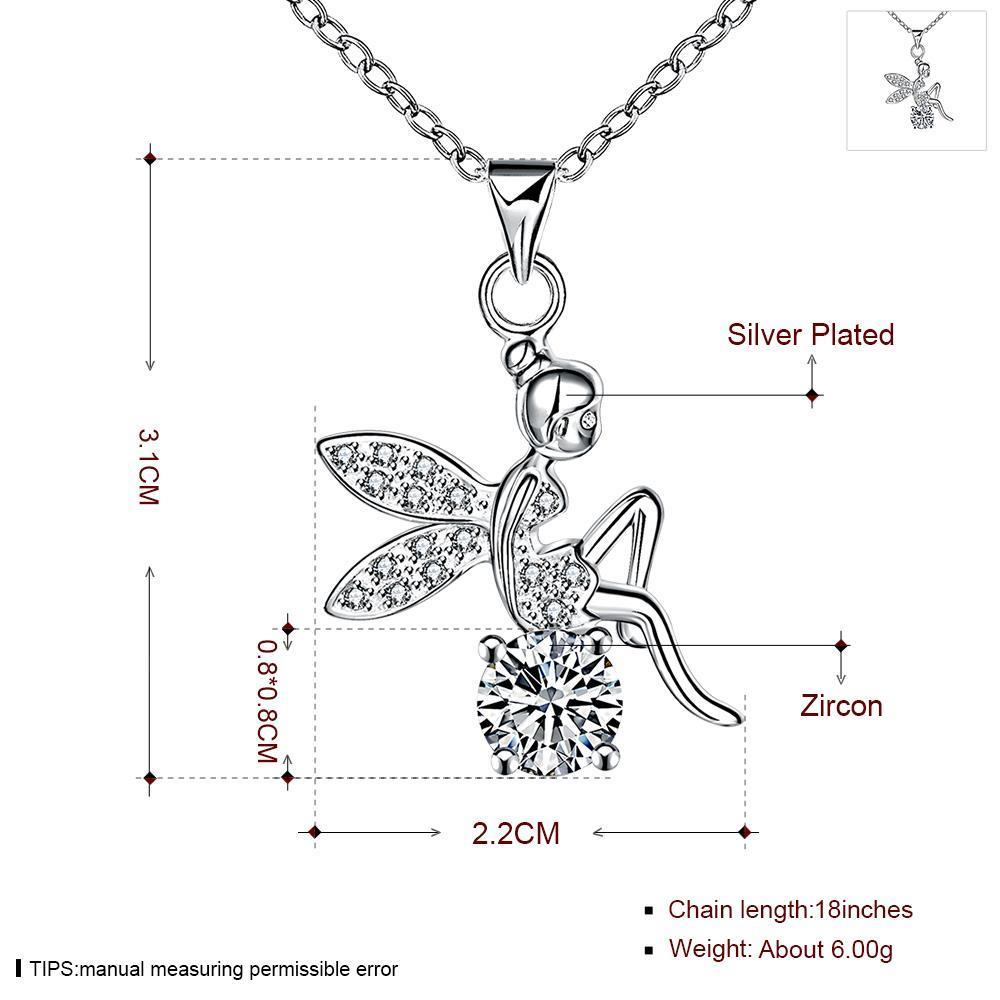 Wholesale Romantic Silver Fairy CZ Necklace TGSPN039 3