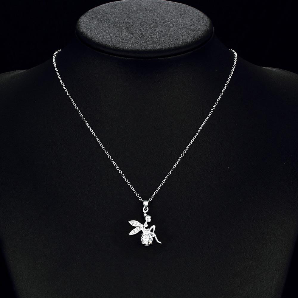 Wholesale Romantic Silver Fairy CZ Necklace TGSPN039 4