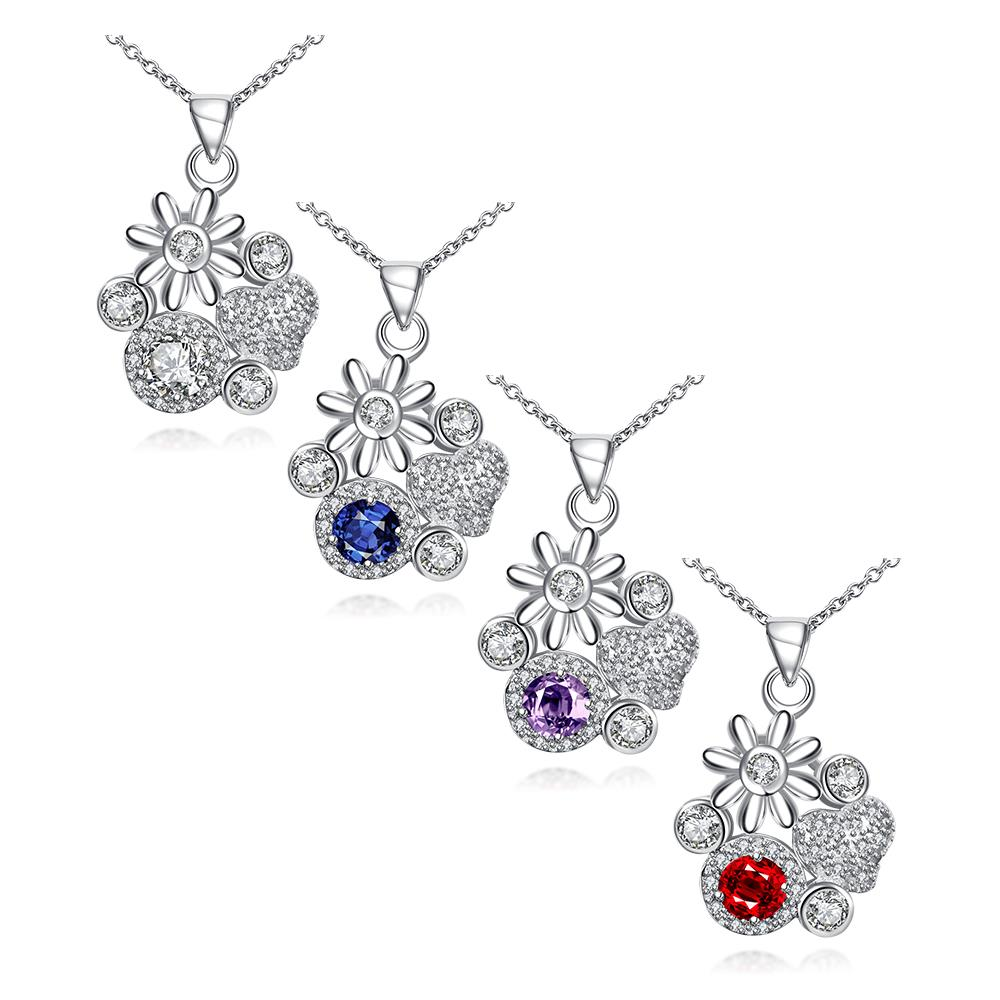 Wholesale Classic Silver Plant Glass Necklace TGSPN088 2