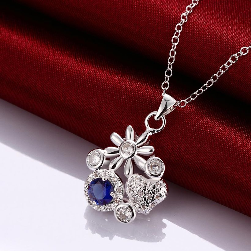 Wholesale Classic Silver Plant Glass Necklace TGSPN088 4