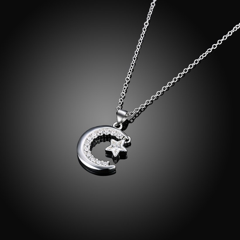 Wholesale Trendy Silver Moon White CZ Necklace TGSPN156 1