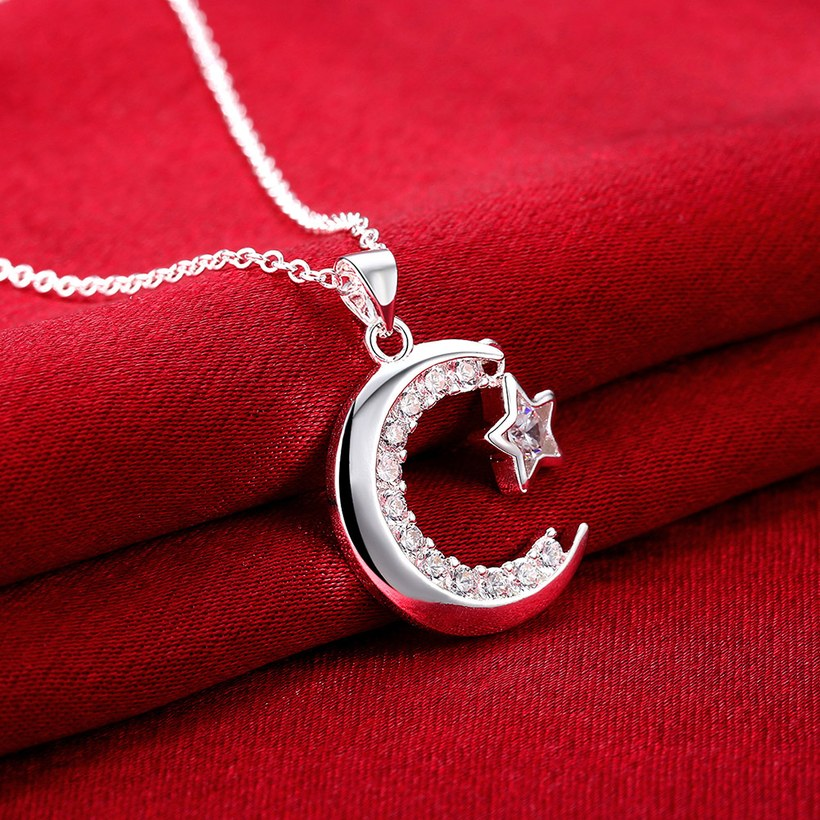 Wholesale Trendy Silver Moon White CZ Necklace TGSPN156 2