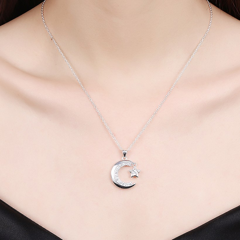 Wholesale Trendy Silver Moon White CZ Necklace TGSPN156 4