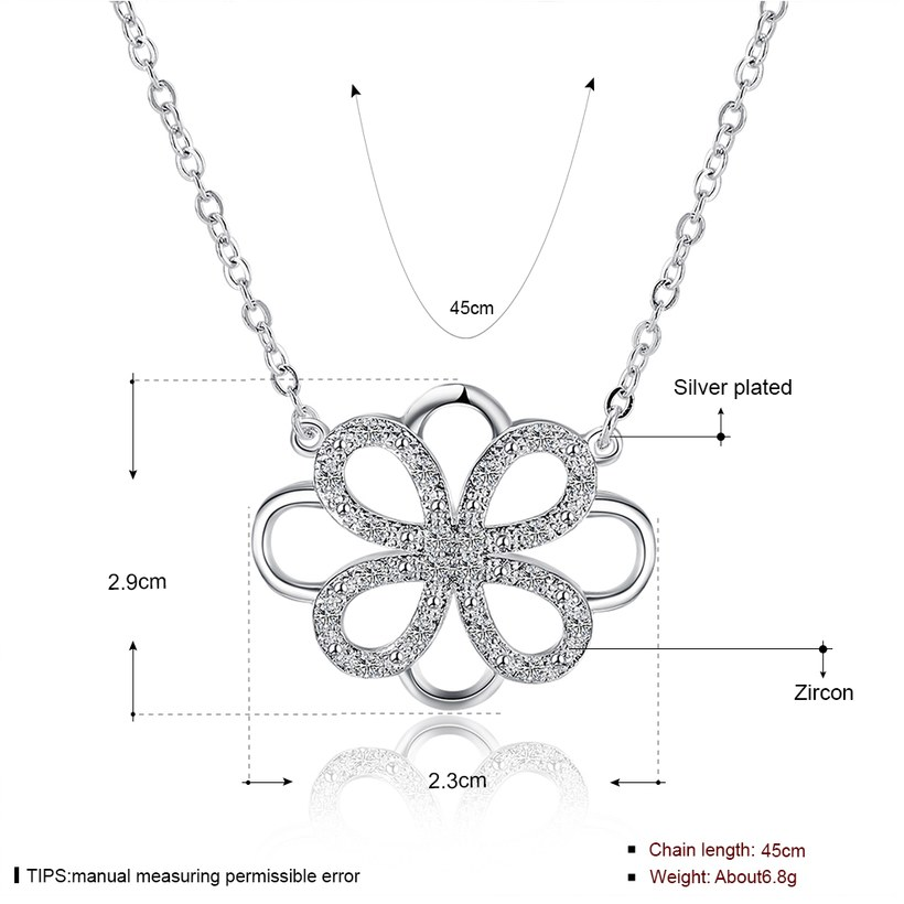 Wholesale Trendy Silver Geometric White CZ Necklace TGSPN188 0