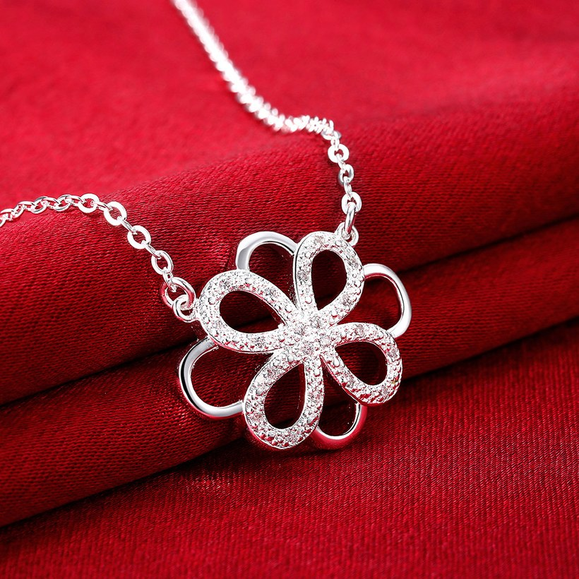 Wholesale Trendy Silver Geometric White CZ Necklace TGSPN188 2
