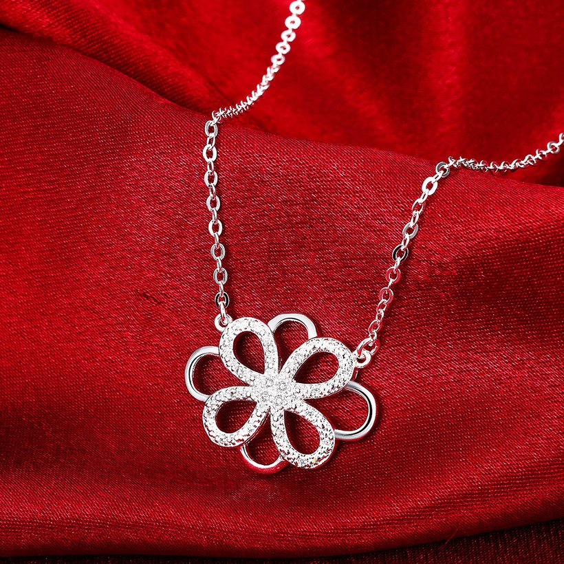 Wholesale Trendy Silver Geometric White CZ Necklace TGSPN188 3