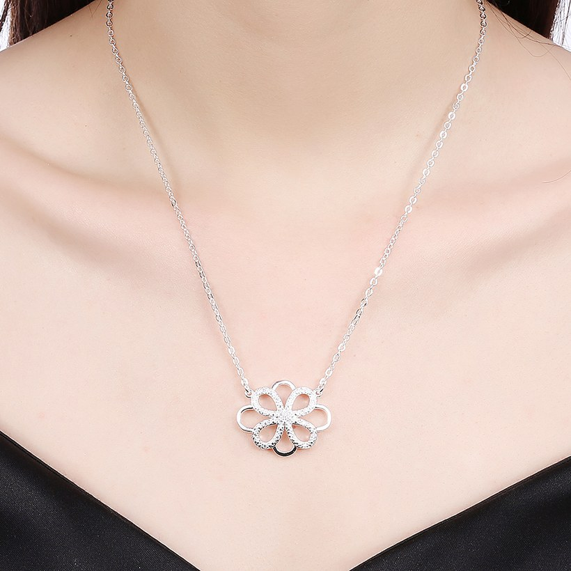 Wholesale Trendy Silver Geometric White CZ Necklace TGSPN188 4