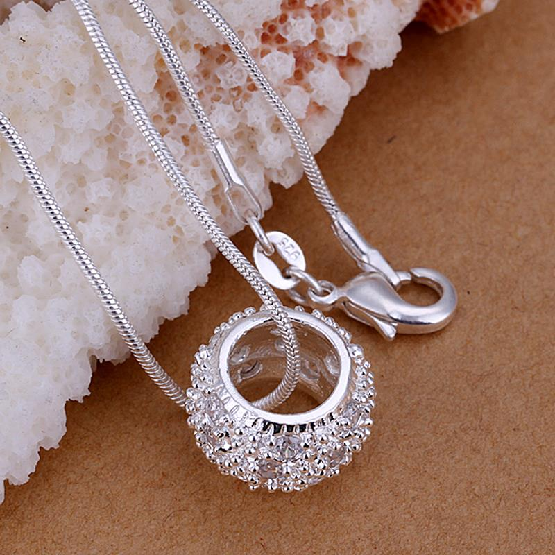 Wholesale Trendy Silver Round CZ Pendants TGSPP014 0