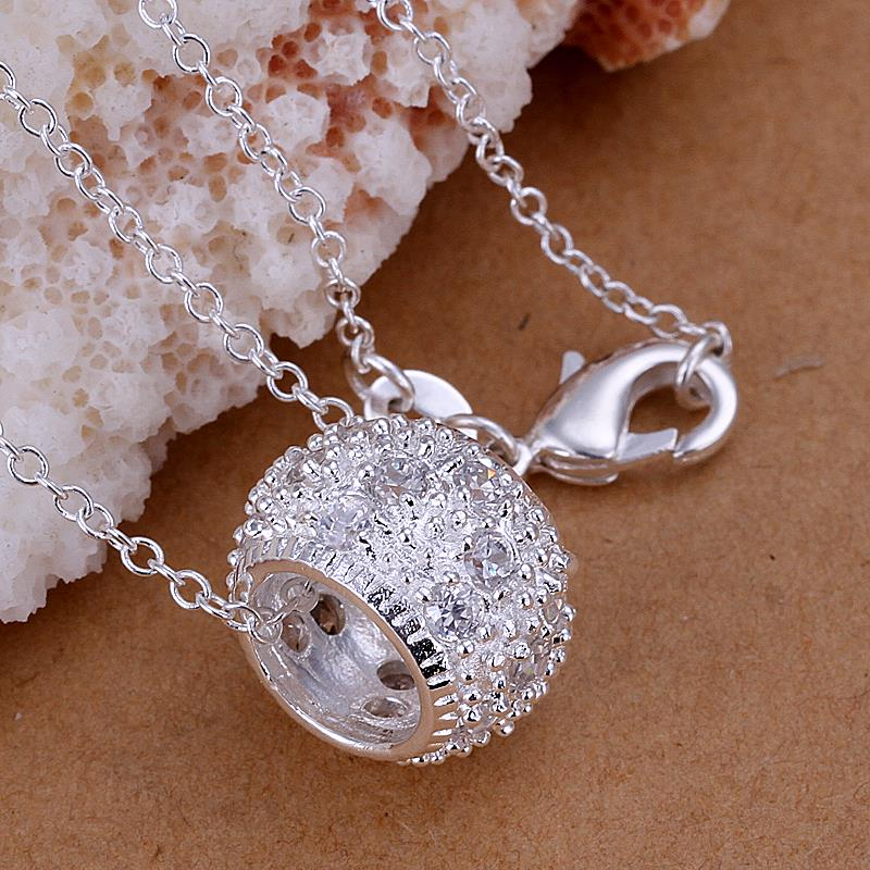 Wholesale Trendy Silver Round CZ Pendants TGSPP014 1
