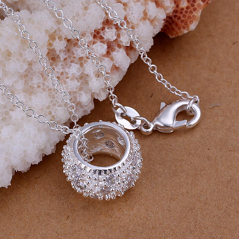 Wholesale Trendy Silver Round CZ Pendants TGSPP014 2